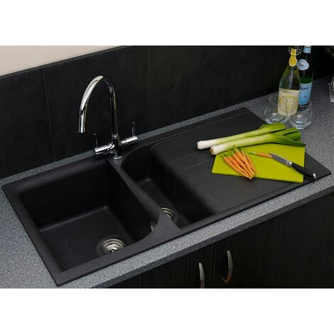 Reginox EGO475 Black Granite Bowl Kitchen Sink + Drainer & Waste