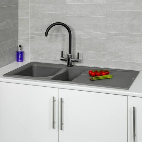 Reginox EGO475 Grey Granite 1.5 Bowl Sink with Waste Included
