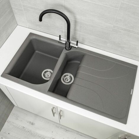 Reginox EGO475 Grey Granite 1.5 Bowl Sink with Waste Included