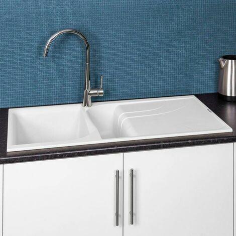Reginox EGO475 White Granite 1.5 Bowl Sink with Waste Included