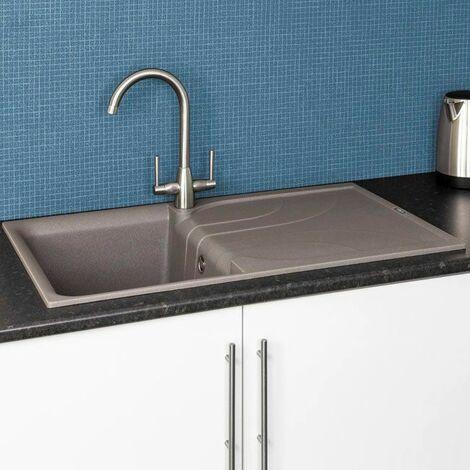"main image of ""Reginox Elleci EGO400 Kitchen Sink Single Bowl Grey Granite Reversible Recessed"""