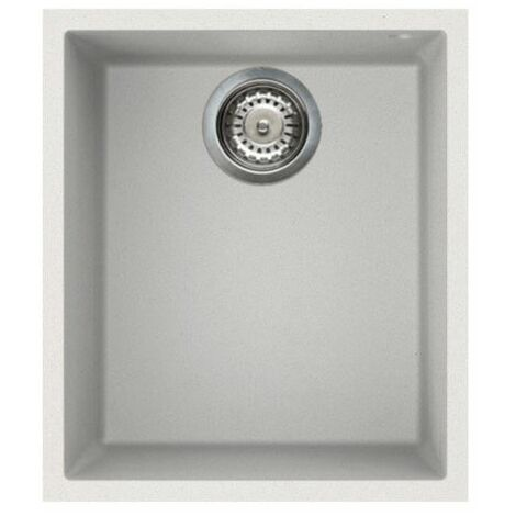 "main image of ""Reginox Elleci Quadra100 Kitchen Sink Single Bowl White Granite Undermount Waste"""