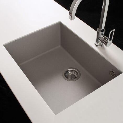Reginox Elleci Quadra105 Kitchen Sink Single Bowl White Granite Undermount Waste
