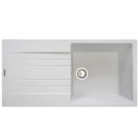 "main image of ""Reginox Hampton Kitchen Sink Sinks Inset Single Bowl Drainer Granite Waste White"""