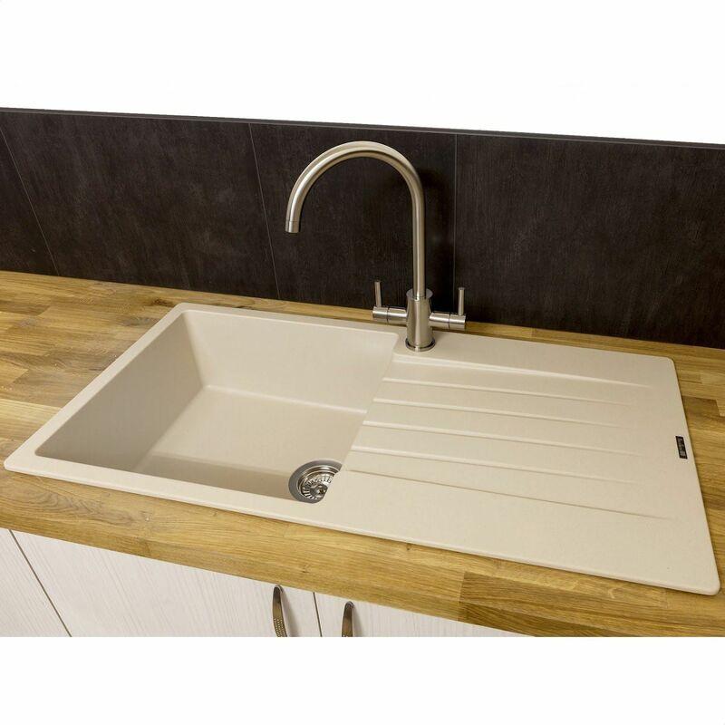 Remarkable Reginox Harlem10 1 Bowl Kitchen Sink Drainer Cafe Latte Granite Download Free Architecture Designs Scobabritishbridgeorg