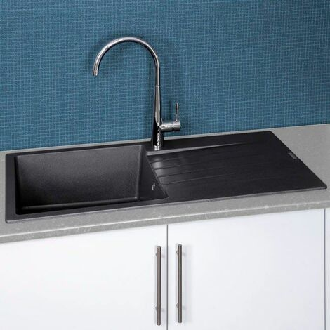 Reginox Harlem10 1 Bowl Kitchen Sink Drainer Silver Black Granite