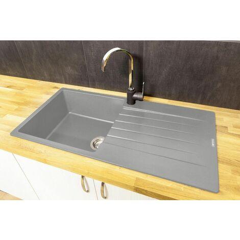 Reginox Harlem10 Silver Grey 1 Bowl Kitchen Sink Drainer Granite