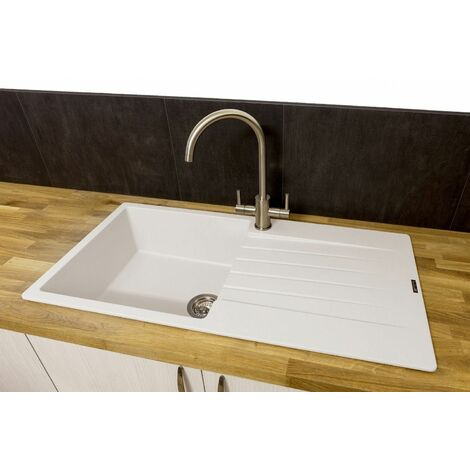 Reginox Harlem10 Single Bowl Kitchen Sink Drainer White Granite