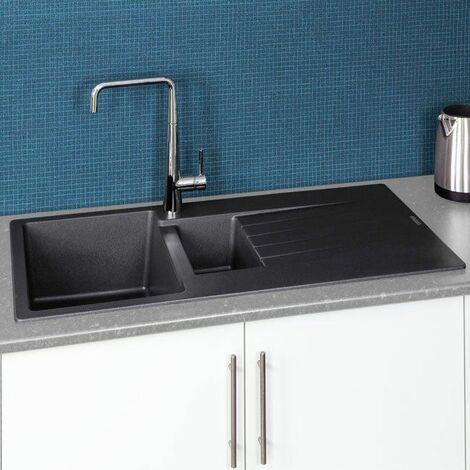 "main image of ""Reginox Harlem15 Kitchen Sink 1.5 Bowl Silver Black Granite Reversible Waste"""