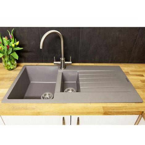 "main image of ""Reginox Harlem15 Kitchen Sink 1.5 Bowl Silver Grey Granite Reversible Waste"""