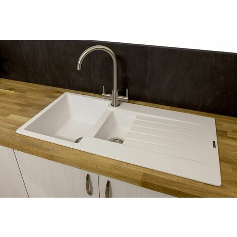 Reginox Harlem15 White Granite Bowl Kitchen Sink with Drainer Inset