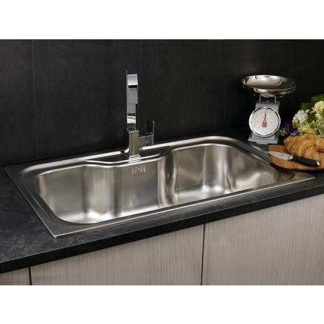 "main image of ""Reginox Jumbo Inset Kitchen Sink Stainless Steel Large Bowl Waste 1 Tap Hole"""