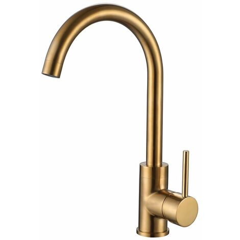 Reginox Kalix Kitchen Sink Tap Swivel Spout Mixer Hot Taps Single Lever Gold