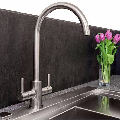 Reginox Kitchen Sink Tap Brushed Nickel Swivel Spout Mixer Taps Dual Lever Mono