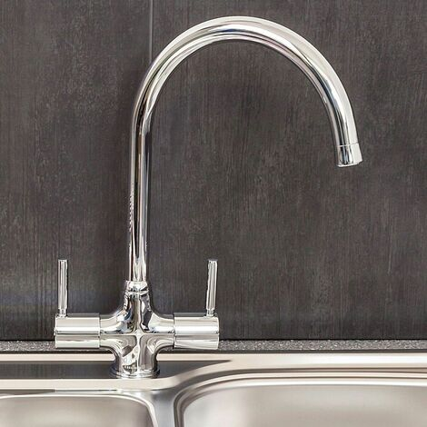 Reginox Kitchen Sink Tap Chrome Swan Neck Swivel Spout Mixer Taps Dual Lever