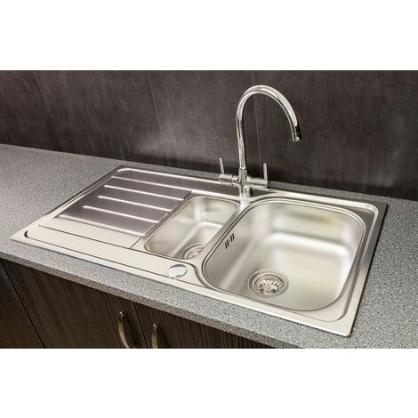 Reginox Lemans 1.5 Bowl Kitchen Sink Stainless Reversible + Waste