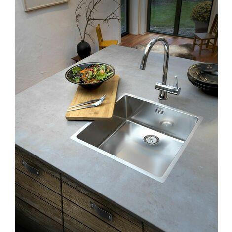 Reginox New York Kitchen Sink Square Single Bowl Stainless Steel Basket Waste