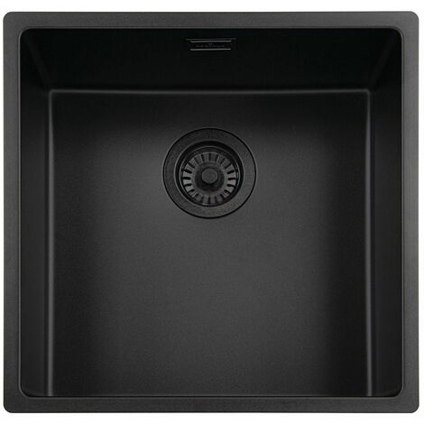 Reginox New York Kitchen Sink Stainless Steel Single Bowl 40 x 40 Waste Black