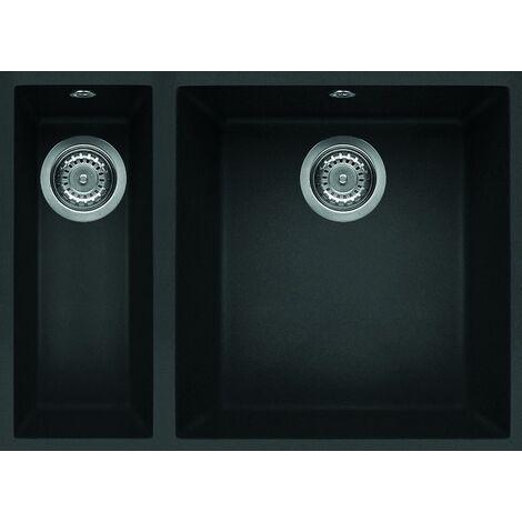 "main image of ""Reginox Quadra 150 Inset 1.5 Bowl Granite Black Undermount Kitchen Sink Black Metaltek"""