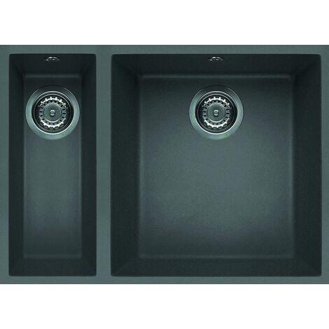 """main image of """"Reginox Quadra 150 Inset 1.5 Bowl Granite Black Undermount Kitchen Sink Titanium Metaltek"""""""