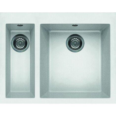 "main image of ""Reginox Quadra 150 Inset 1.5 Bowl Granite Black Undermount Kitchen Sink White Granitek"""