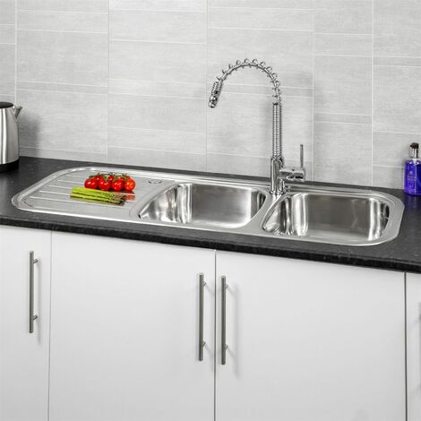 "main image of ""Reginox Regent Lux Kitchen Sink 2 Bowl Stainless Steel Left Hand Drainer Inset"""