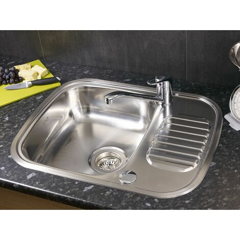 Reginox Regidrain Inset Kitchen Sink Stainless 1 Bowl Reversible