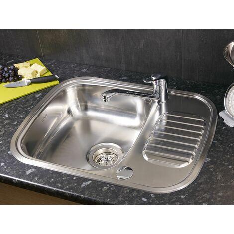 "main image of ""Reginox Regidrain Kitchen Sink Single Bowl Reversible Drainer Stainless Steel"""