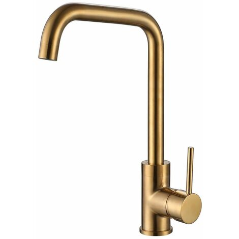 Reginox Rion Kitchen Sink Tap Swivel Spout Mixer Hot Taps Single Lever Gold