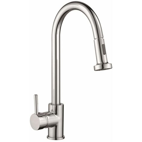 Reginox Tanaro Kitchen Sink Tap Chrome Swivel Spout Mixer Pull Out Single Lever