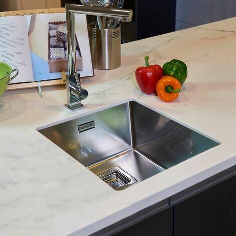 Reginox Texas Kitchen Sink Single Bowl Integrated Stainless Steel Basket Waste