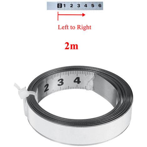 Règle auto-adhésive d'échelle métrique de mètre ruban de voie d'onglet d'acier inoxydable 2m 2M de gauche à droite
