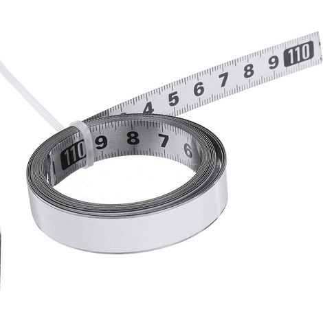 Règle auto-adhésive d'échelle métrique de mètre ruban de voie d'onglet d'acier inoxydable milieu à droite et gauche 2m 2M Milieu