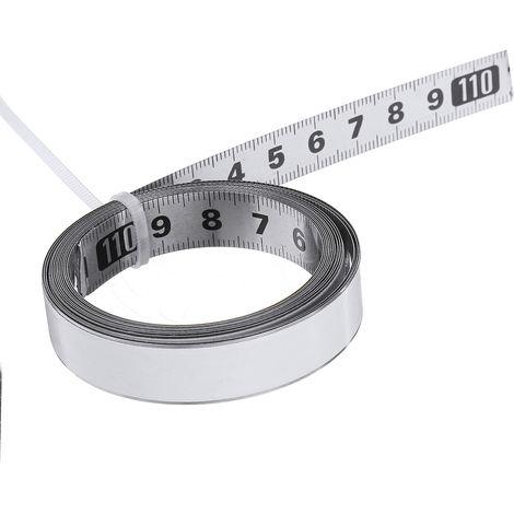 Règle auto-adhésive d'échelle métrique de mètre ruban de voie d'onglet d'acier inoxydable milieu à droite et gauche 2m
