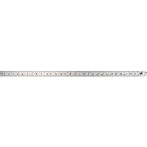 Règle graduée en acier, Long. : 1000 mm, Larg. : 18 mm, Epaisseur 0,5 mm, Graduation du bord supérieur : 1/2 mm, Graduation du bord inférieur : 1/1 mm