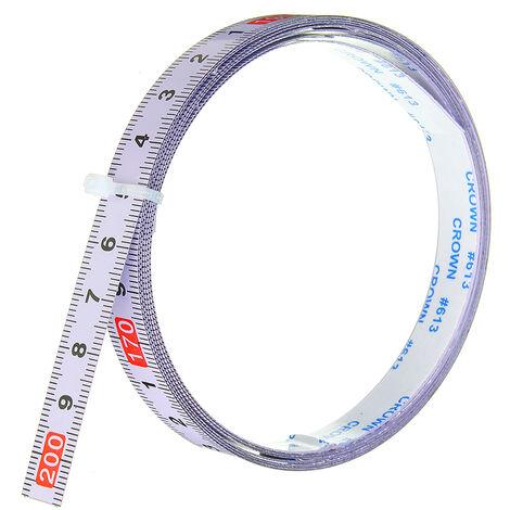 Règle métrique auto-adhésive piste à onglets ruban à mesurer échelle de scie à onglets en acier pour routeur sur rail Table scie à ruban outil de travail du bois 2 m inversé 2 M (2M-0)