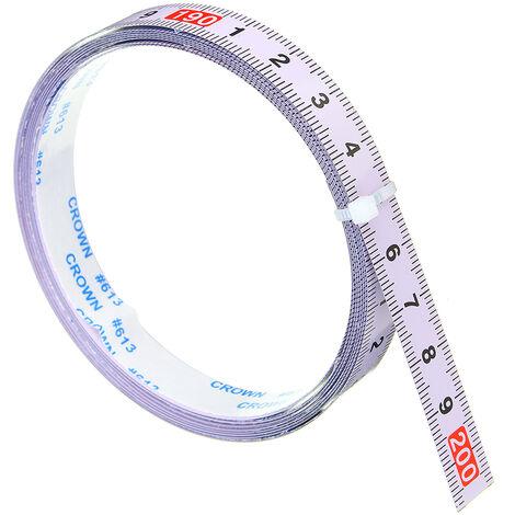 Règle métrique auto-adhésive piste d'onglet ruban à mesurer échelle de scie à onglets en acier pour routeur à rail en T Table scie à ruban outil de travail du bois 2 m avant 2 m (0-2 m)