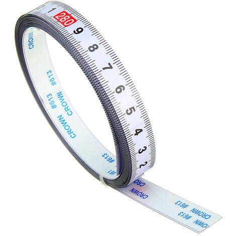 Règle métrique auto-adhésive piste d'onglet ruban à mesurer en acier scie à onglet échelle pour T-piste routeur Table scie à ruban outil de travail du bois 3m inverse 3M (3M-0)