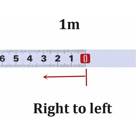 Règle métrique onglet piste ruban à mesurer 1M Droit à Gauche