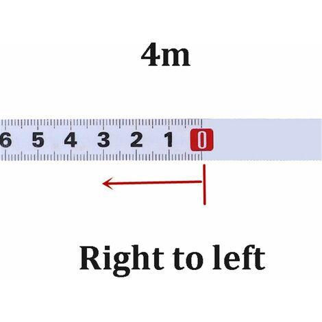 Règle métrique onglet piste ruban à mesurer 4M Droit à Gauche