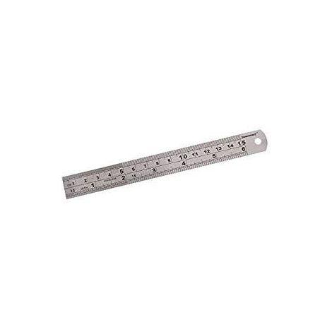 Reglet inox 15cm avec mesures métriques et impériales SILVERLINE