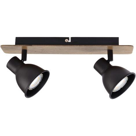 Regleta 2 focos serie Miko negro y madera GU10 (Jueric 10268)