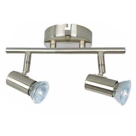 Regleta 2 focos serie Plain níquel GU10 (Ledesma 10141)