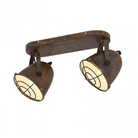 Regleta 2 luces E27 estilo foco de cine acabado marrón rústico y interior blanco