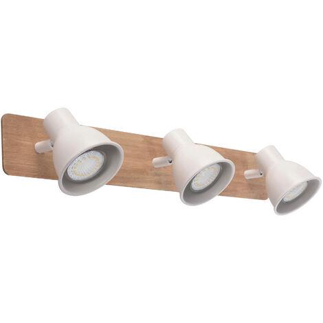 Regleta 3 focos serie Miko blanco y madera GU10 (Jueric 10307)