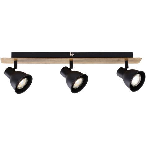 Regleta 3 focos serie Miko negro y madera GU10 (Jueric 10269)