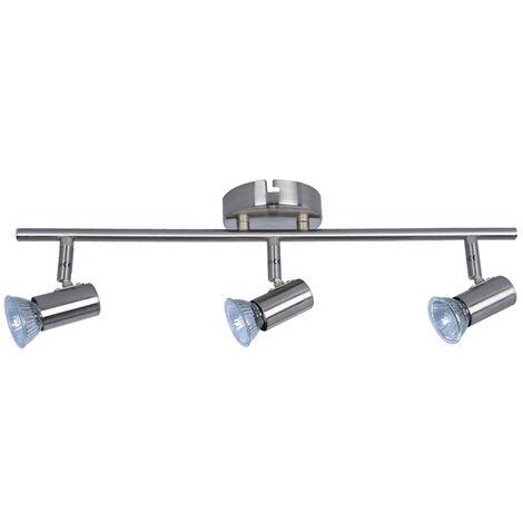 Regleta 3 focos serie Plain níquel GU10 (Ledesma 10142)