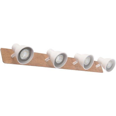 Regleta 4 focos serie Miko blanco y madera GU10 (Jueric 10309)