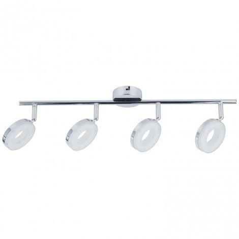 Regleta 4 luces LED Circular 24W 4000K Aluminio Cromo
