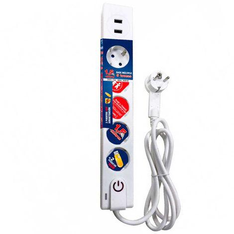Regleta 5 Enchufes Schuko y 2 USB 1,5m Blanco con Interruptor 7hSevenOn Elec